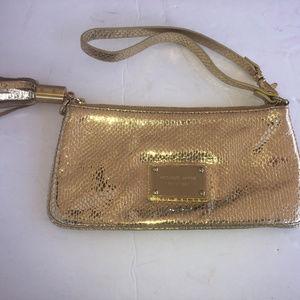 Michael Kors MK gold tone wristlet evening bag